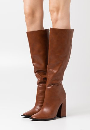 PIXXEL - High heeled boots - cognac