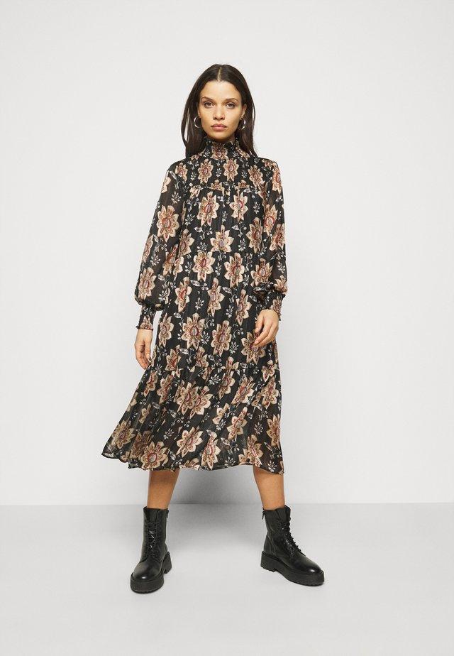 OBJFLORALINA DRESS - Korte jurk - black