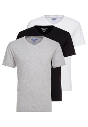 JORBASIC TEE V-NECK 3 PACK REGULAR FIT - T-Shirt basic - white//black/grey