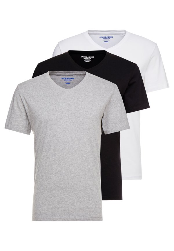 Jack & Jones JORBASIC TEE V-NECK 3 PACK REGULAR FIT - T-shirt basic - white//black/grey/wielokolorowy Odzież Męska UZHD