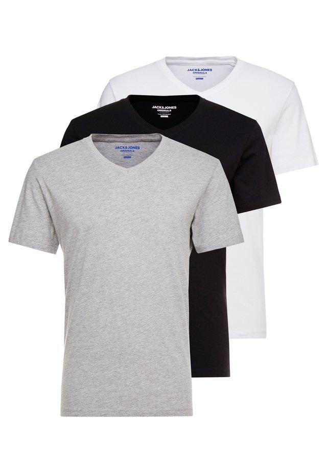 JORBASIC TEE V-NECK 3 PACK REGULAR FIT - T-shirt basique - white//black/grey