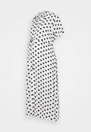 DRESS WITH BELT MATERNITY - Maxi dress - white/black