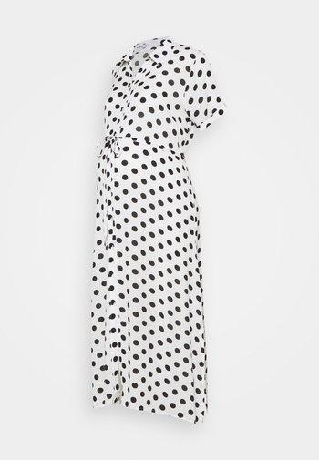 DRESS WITH BELT MATERNITY - Długa sukienka - white/black