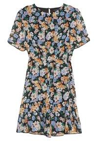 Dorothy Perkins - FLORAL PEPLUM HEM FIT AND FLARE DRESS - Day dress - black - 1