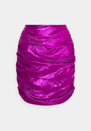 RUCHED MINI SKIRT - Spódnica mini - purple