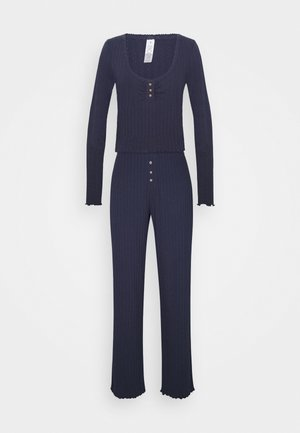 POINTELLE LONG SLEEVE PANT SET - Pyjamas - phantom