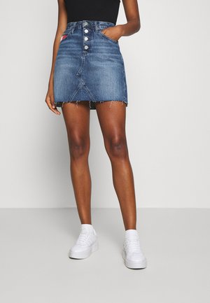 SHORT SKIRT FLY - Farkkuhame - mid blue rigid