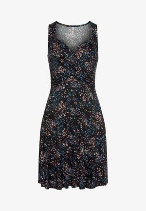 Shift dress - schwarz-rose-bedruckt