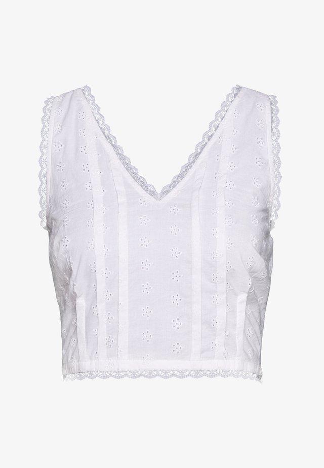 DETAIL CROP - Bluzka - white