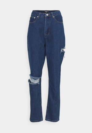 THIGH AND KNEE SLIT  - Straight leg jeans - blue
