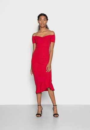 BARDOT RUFFLE MIDI DRESS - Cocktail dress / Party dress - red