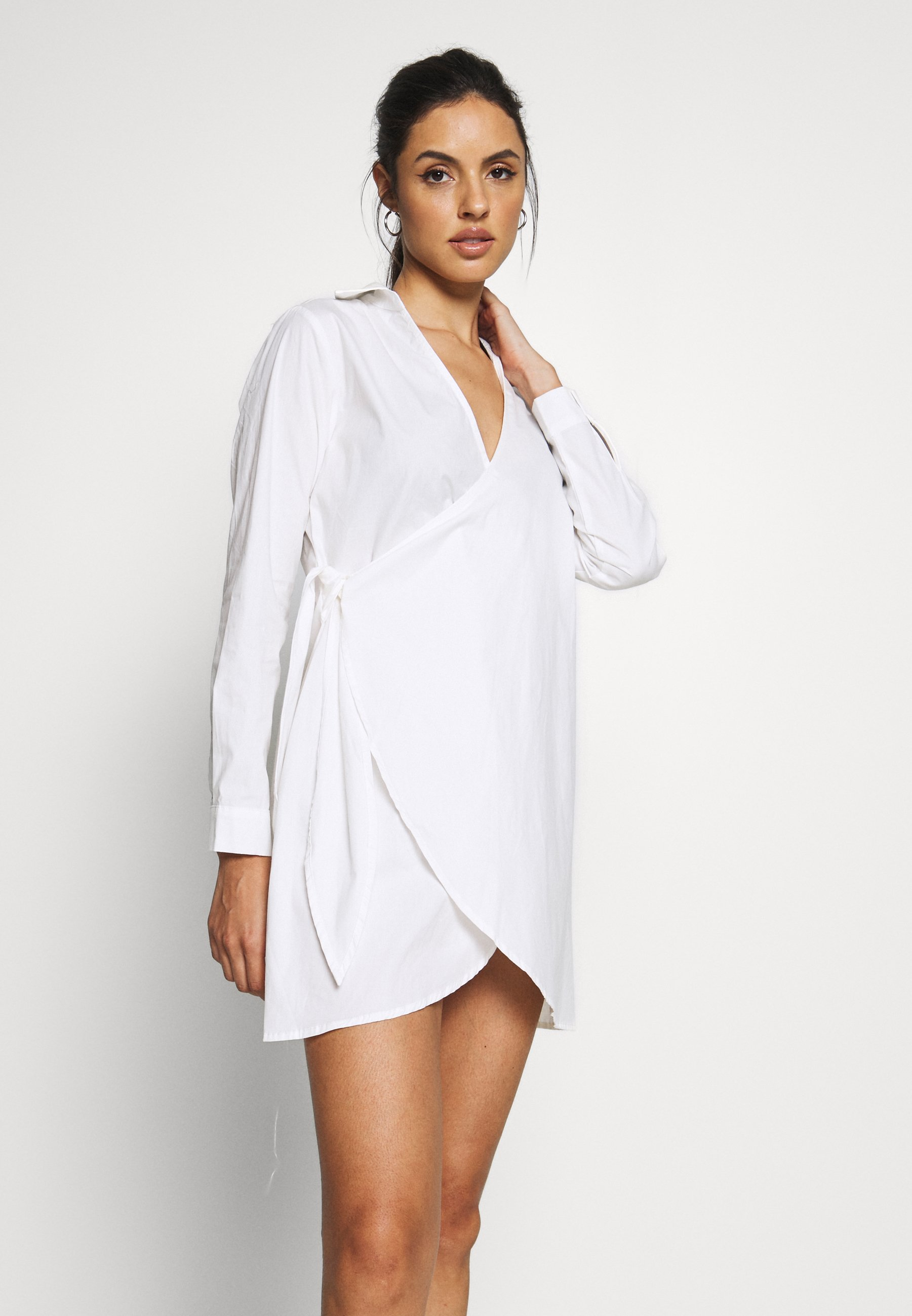 Missguided Wrap Dress Swim Cover Up Beach Accessory White Zalando Co Uk