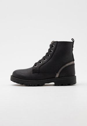 GROOKE - Lace-up ankle boots - noir argent