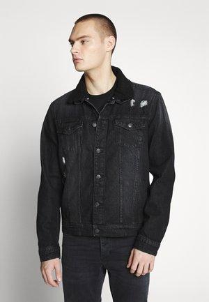 BORG COLLARED JACKET - Kurtka jeansowa - black denim