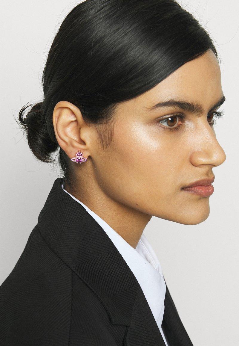 Vivienne Westwood - VALENTINA ORB EARRINGS - Earrings - rose gold-coloured/purple