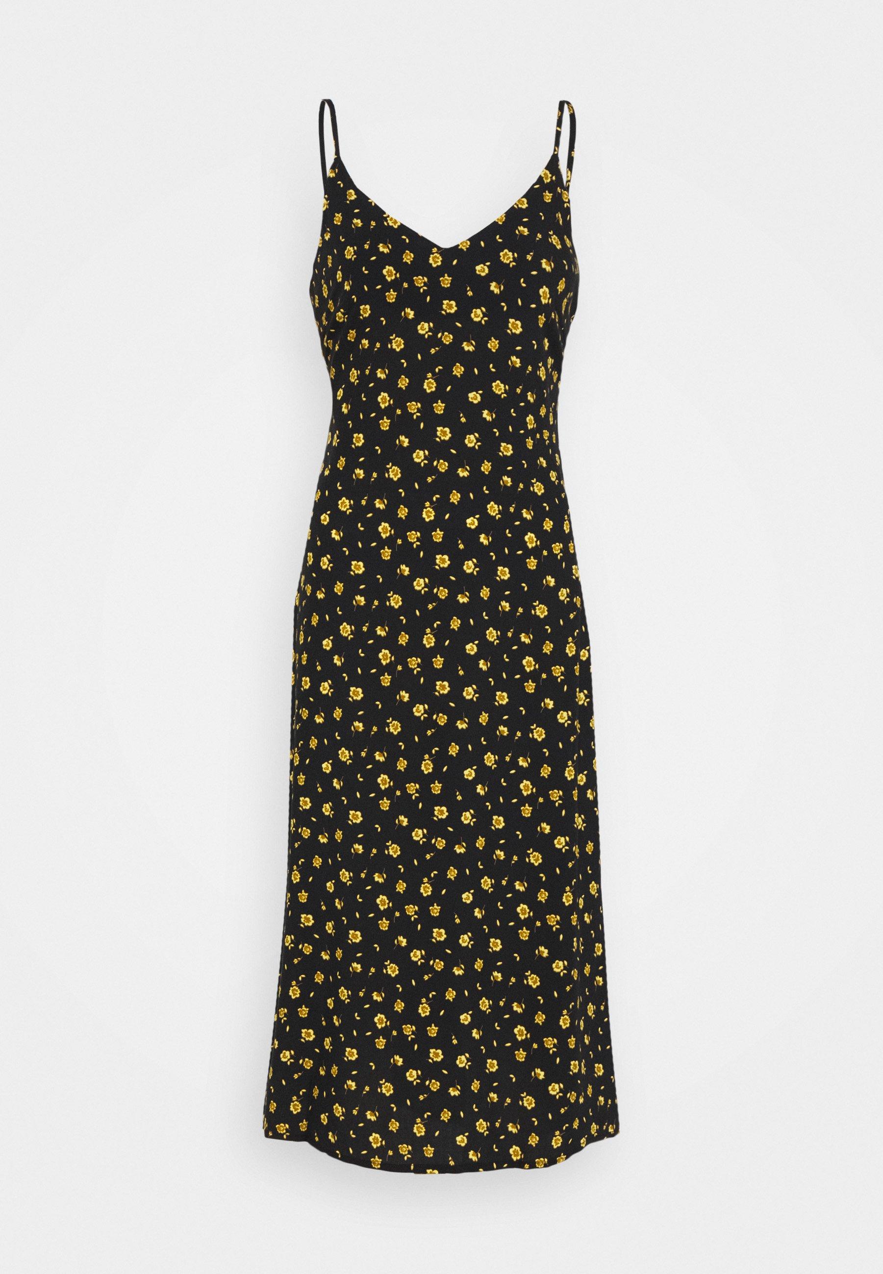 Women BIAS CUT MIDI SLIP DRESS - Day dress - black/chartreuse