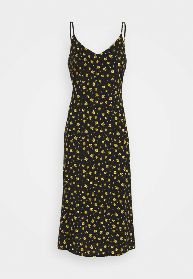 BIAS CUT MIDI SLIP DRESS - Korte jurk - black/chartreuse