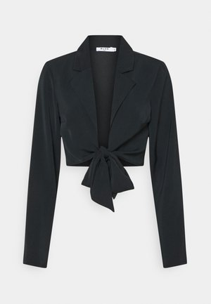 FRONT TIE BLOUSE - Long sleeved top - black