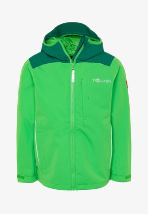 KIDS BERGEN - Hardshell jacket - dark green/bright green