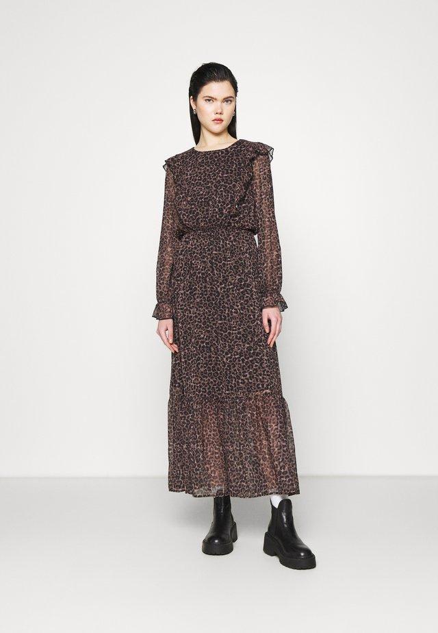 FRILL SHOULDER DRESS - Vestito lungo - leopard print