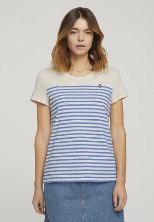 STRIPED TEE - Print T-shirt - soft creme beige