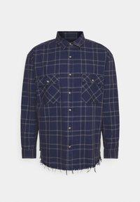 Mennace - DOUBLE POCKET DISTRESSED CHECK UNISEX - Shirt - blue - 0