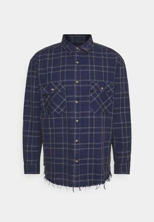 DOUBLE POCKET DISTRESSED CHECK UNISEX - Skjorta - blue