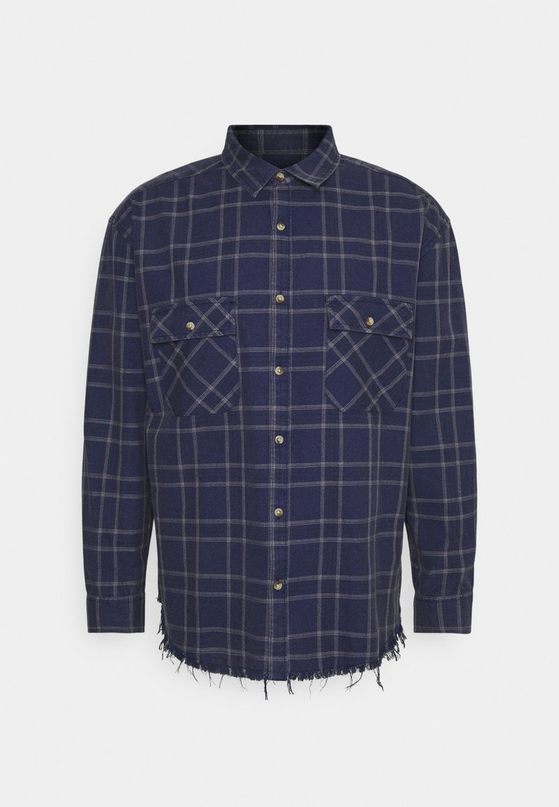 Mennace - DOUBLE POCKET DISTRESSED CHECK UNISEX - Shirt - blue