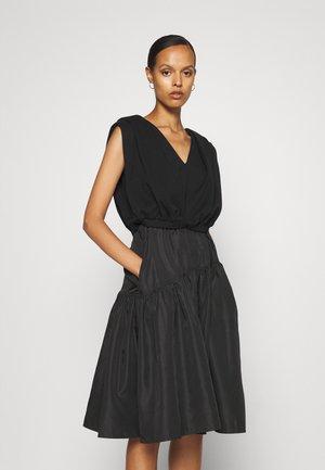 FRENCH TERRY COMBO DRESS TAFFETA SKIRT - Day dress - black