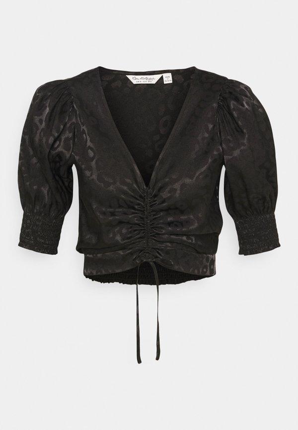 Miss Selfridge ANIMAL RUCHED BLOUSE - Bluzka - black/czarny LWXF