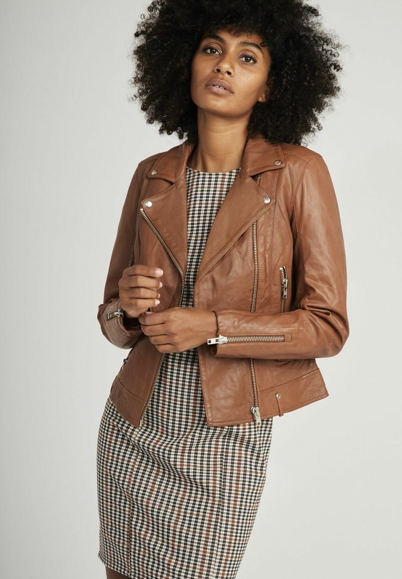 NAF NAF - CAREN - Veste en cuir - brown