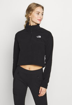 GLACIER CROPPED ZIP - Fleece jumper - black