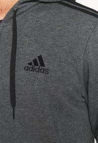 adidas Performance - 3 STRIPES FLEECE FULL ZIP ESSENTIALS SPORTS TRACK JACKET HOODIE - Zip-up sweatshirt - dark grey heather - 4