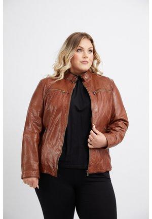 Leather jacket - dark cognac