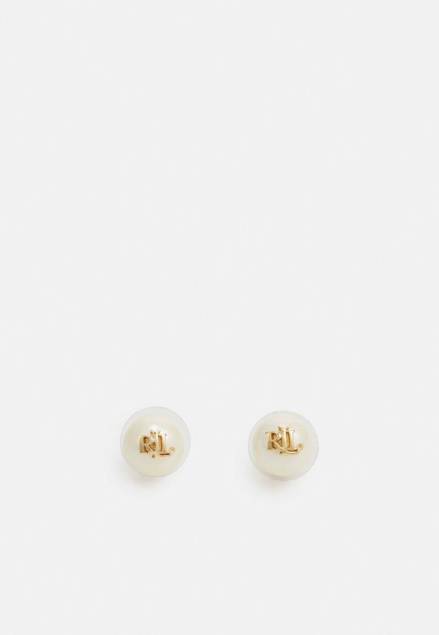 PEARL LOGO STUD - Náušnice - gold-coloured/white