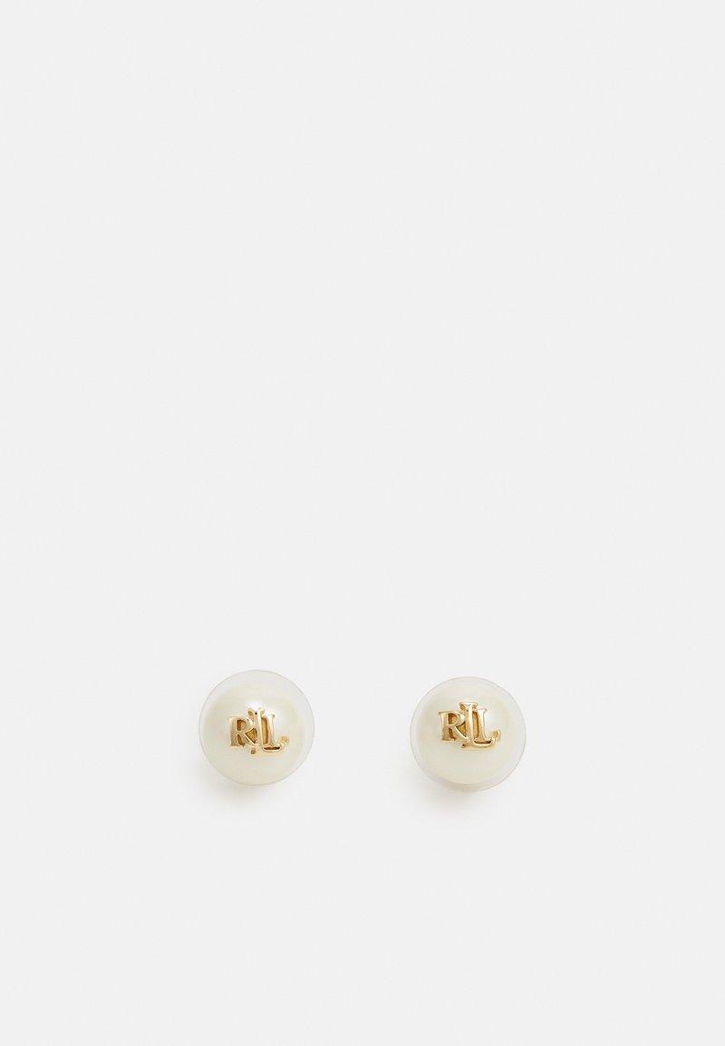 Lauren Ralph Lauren - PEARL LOGO STUD - Earrings - gold-coloured/white