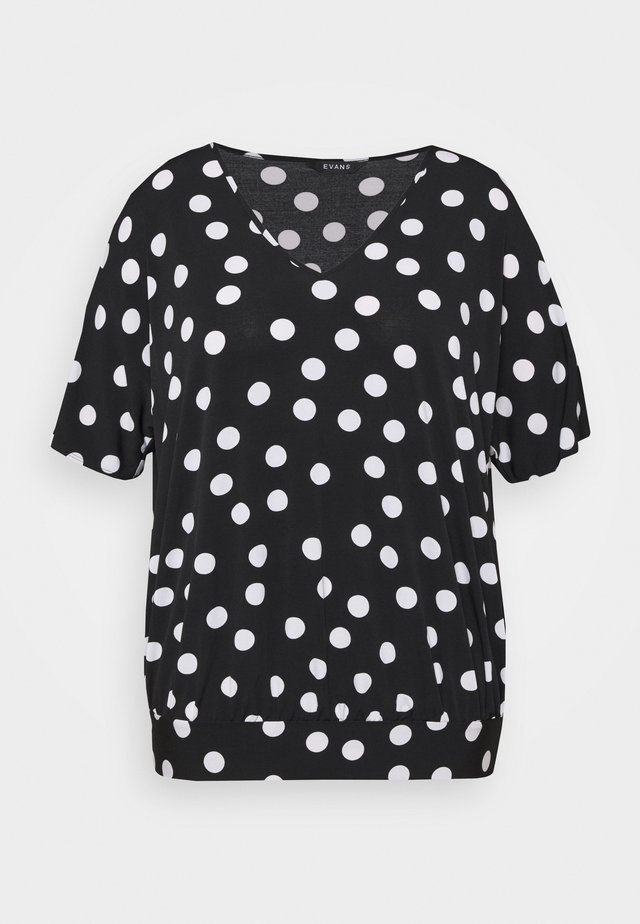 MONO SPOT BUBBLE TOP - Print T-shirt - black