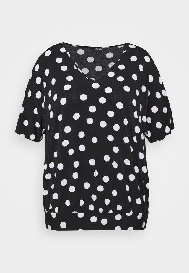 MONO SPOT BUBBLE TOP - T-shirt z nadrukiem - black