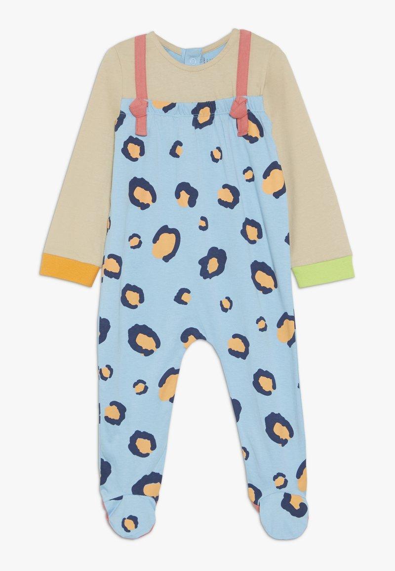 Lucy & Sam - RIBBON ROMPER LEOPARD PRINT BABY - Jumpsuit - light blue/off white