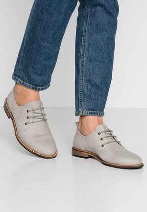 LEATHER LACE UPS - Derbies - grey