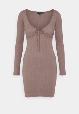 DRAWSTRING TIE BUST MINI DRESS - Jumper dress - brown