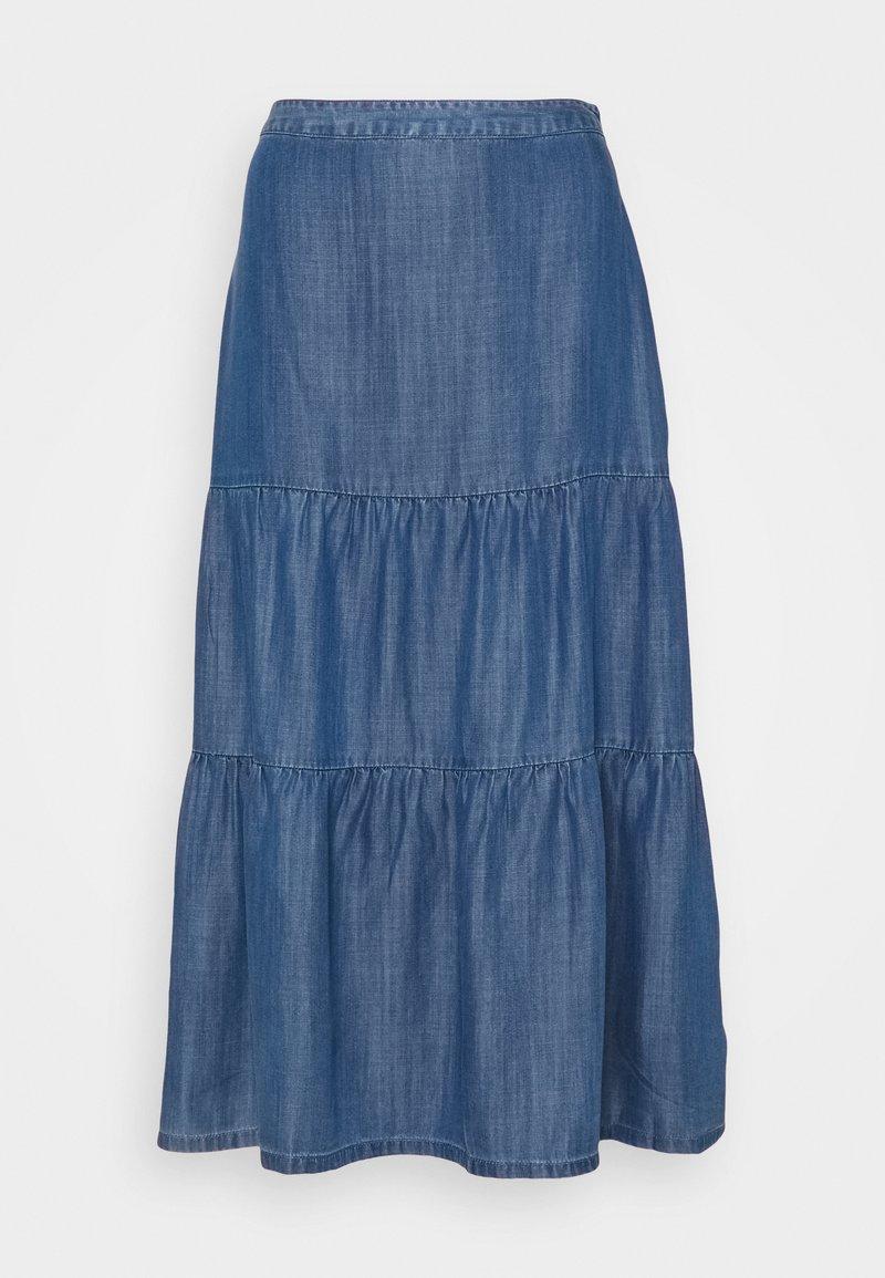 Esprit - Pleated skirt - blue medium wash
