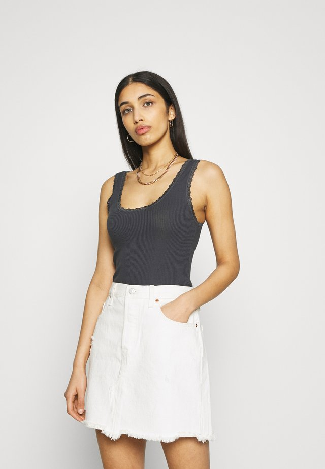 PICOT TRIMMED TANK - Top - charcoal
