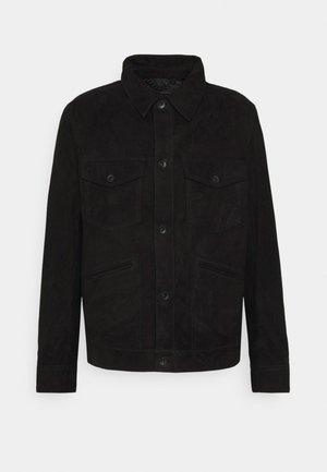 DULL - Leather jacket - schwarz