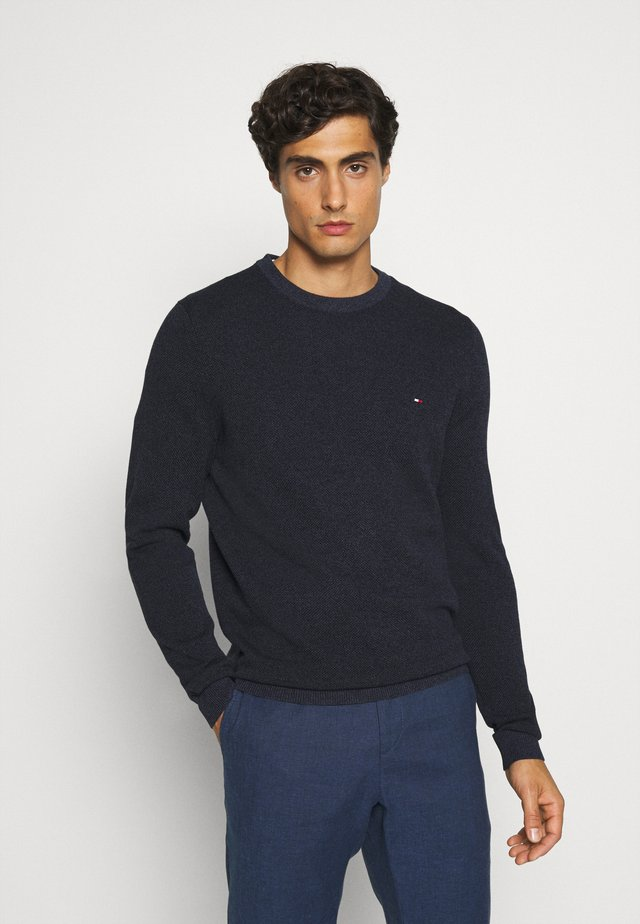 MOULINE STRUCTURE CREW NECK - Pullover - blue