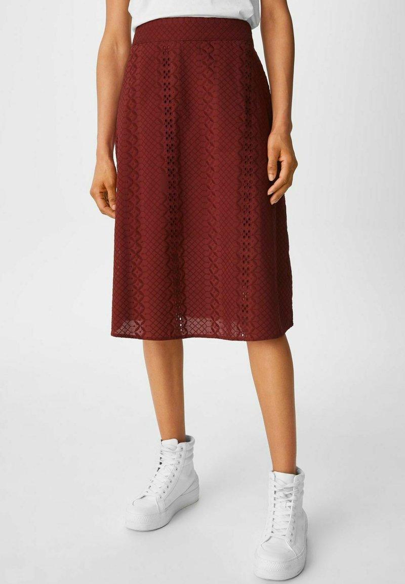 C&A - A-line skirt - dark red