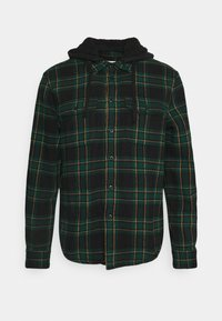 American Eagle - HOODED ALM PLAID OVERSHIRT - Vapaa-ajan kauluspaita - green - 0