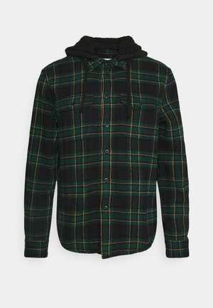 HOODED ALM PLAID OVERSHIRT - Shirt - green