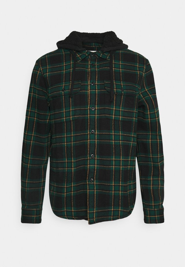 HOODED ALM PLAID OVERSHIRT - Košile - green