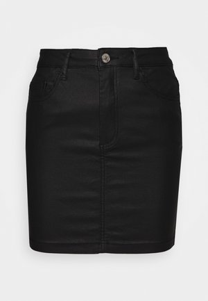 COATED MINI SKIRT - Mini skirt - black